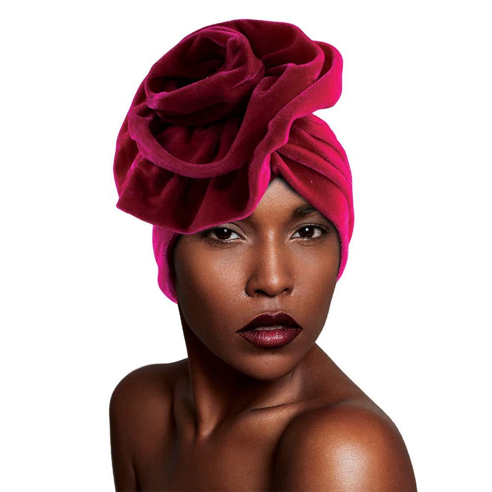 Velvet Bonnet Turban Knot Pre-Tied Fashion Size Head Large Scarf Topics on TV Headwra