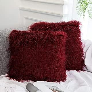 Dikoaina Mongolian Faux Fur Pillow Cover Cushion Case Natural Color