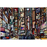 """New York City Tapestry,USA Cityscape Decor NYC Downtown Skyscrapers Midtown Manhattan High Buildings Architectures New York City Times Square Street Illustration Tapestry Wall Hanging 90""""x60""""Large"""