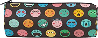 ALAZA Emoji Cylinder Pencil Case Holder Zipper Large Capacity Pen Bag Pouch Students Stationery Cosmetic Makeup Bag