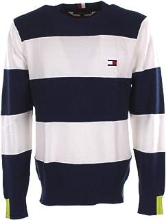 Tommy Hilfiger Men's Neon Tipped Striped Sweater Sweatshirt