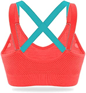 Ritu-Creation Women's Nylon Lightly Padded, With Removable Pads Non-Wired Sports Bra (RCWSB0011_Orange_Free Size)