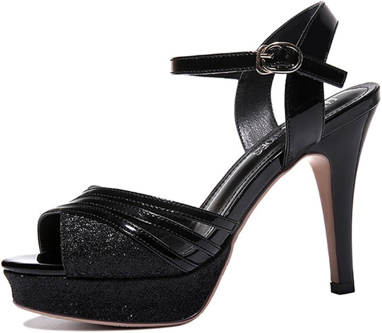 T-JULY Womens Ladies Platform Pumps Sparkle Glitter Stiletto Heel Peep Toe Buckle Ankle Strap Sandals Evening Dress shoes