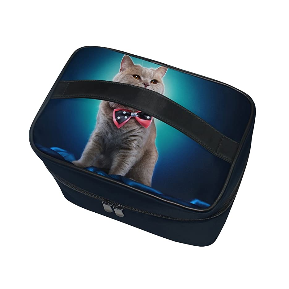 いらいらさせるシェルタートリクルALAZA 化粧ポーチ 猫柄 ねこ柄 化粧 メイクボックス 収納用品 ブルー 大きめ かわいい