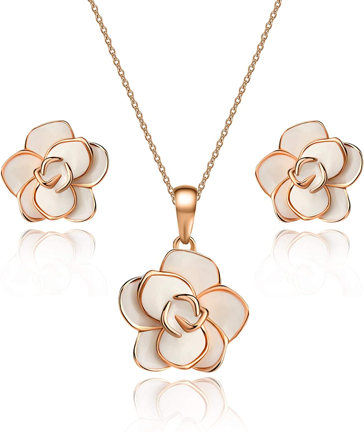 Rose Topics on TV Flower Necklace Earrings Set for 18K Women Gold 5% OFF Hypo Plated