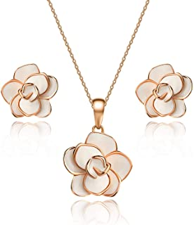 EVEVIC Rose Flower Necklace Earrings Set for Women Girls 18K Gold Plated Jewelry Sets