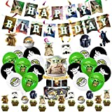 BESTZY Star Wars Decoraciones de Cumpleaños Star Wars Globos Cake Topper Suministros para Fiesta de Niños Happy Birthday Banner Star Wars Decoración para Fiestas