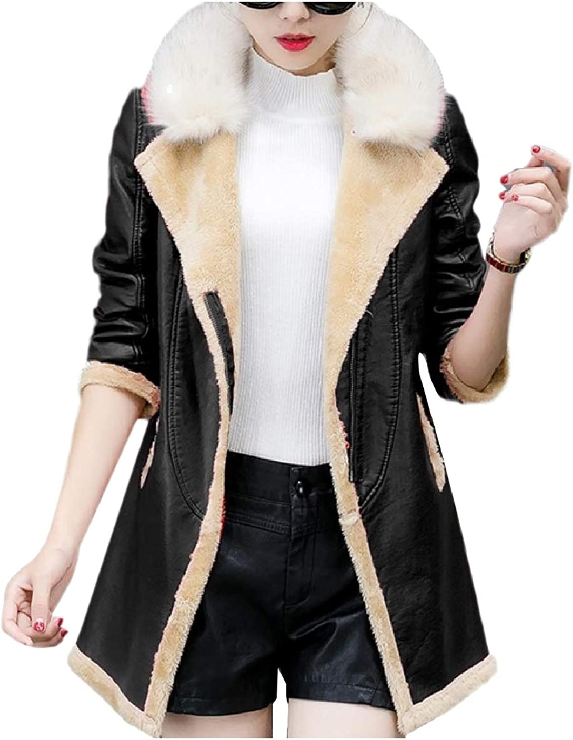 Abetteric Womens Thickened Fur Collar Zip Fall Winter PU Leather Jackets