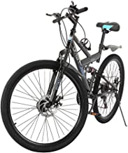 Purpleflower Adult Mountain Bikes - 26 Inch, High Carbon Steel Mountain Trail Bike, Full Suspension Frame Bicycles - 21 Speed Gears Dual Disc Brakes Mountain Bicycle - Ship from US