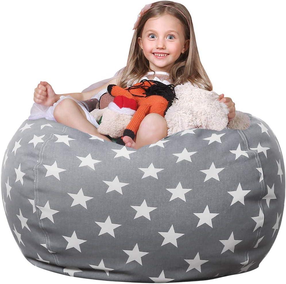 WEKAPO Stuffed Animal Storage Inexpensive Bean Bag Kids Cover St shopping Chair for