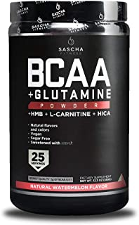 Sascha Fitness BCAA 4:1:1 + Glutamine,HMB,L-Carnitine,HICA | Powerful and Instant Powder..