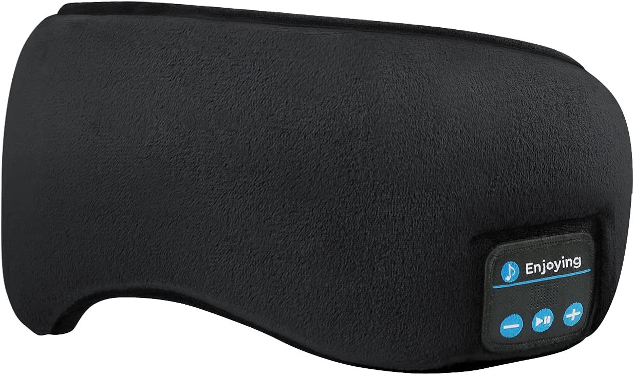 Sleep Mask with Bluetooth Headphones, Sleeping Aid 3D Eye Cover for Stress Relief. Wireless Headset. (Black)