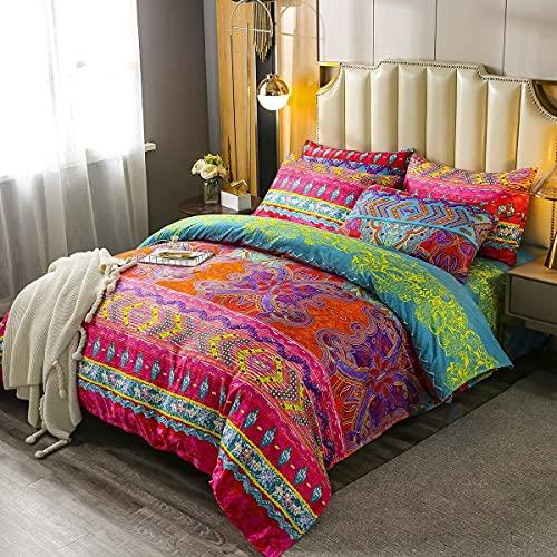 Tbrand - Juego de funda de edredón bohemio, 3 piezas, estilo exótico, funda de cama, estilo bohemio, resistente a la decoloración, juego de colcha de microfibra hippie, tamaño doble