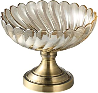 Matashi Champagne Colored Vintage Glass Candy Dish Elegant Snack Bowl for Party Desserts Fruits Home Tabletop Gift for Thanksgiving Christmas New Year Strong Aluminum Base Reusable Compact Portable