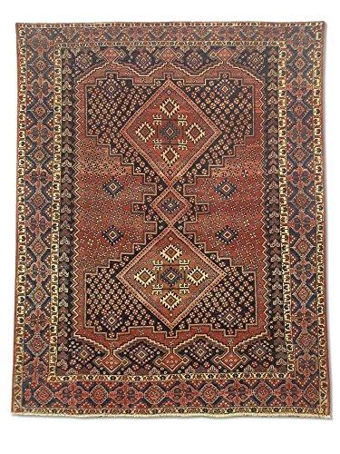Traditionele Perzische handgemaakte Hamadan tapijt, wol, roest/bruin, klein, 155 X 195 cm, 5' 1