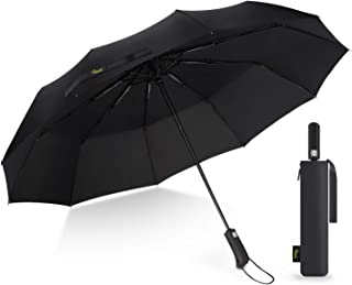 Heasy Travel Umbrella Windproof 10 Ribs Automatic Compact Folding Umbrellas with Teflon Coating and Anti-Slip Handle for M...