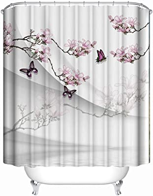 Flower and Butterfly Shower Curtain for Bathroom, Pink Grey Waterproof Fabric Bathroom Curtains Home Bath Decor 60 x 72 inch