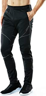 TSLA Men's Thermal Windproof Cycling Pants, Fleece Lined Outdoor Bike Pants, Winter Cold Weather Running Pants