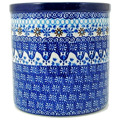 Polish Pottery Hand Crafted 6'' Utensil Crock 003-Ice Capades