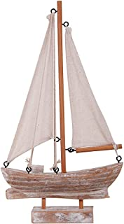 Waroom Home Wooden Sailboat Decor, Handmade Vintage Nautical Decor Sailing Boat Decoration, Wood Display Sail Boat, 10.75''H (B-Sailboat)