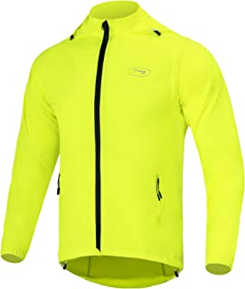 Dooy Men's Cycling Bike Jacket with Detachable Sleeves Windproof Running Vest Lightweight High Visibility Sports Windbreaker