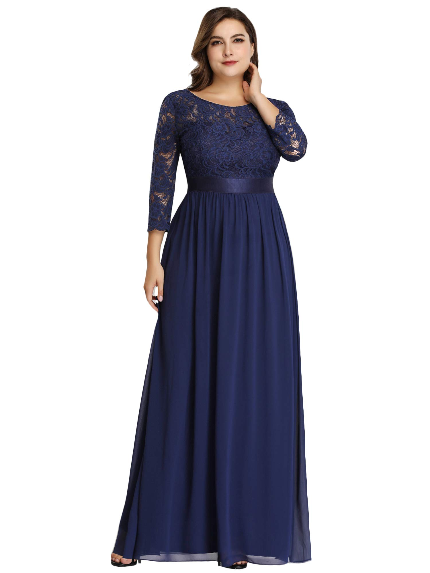 Mother Of The Bride Dresses - Women's Plus Size A-Line 3/4 Lace Sleeves Chiffon Long Formal Evening Party Maxi Dress 7412pz