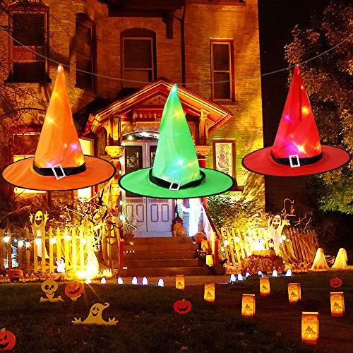 Navidad y Halloween Decoración Jardín Accesorios, Vispera de Todos los Santos Adornos Colgar, Sombreros de bruja brillantes con luces 3 PCS para Niños, Cosplay,Disfraz Escoba,Fiesta, Patio,árboles