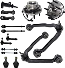 Detroit Axle [15PC] Front Suspension Kit - Wheel Hub Bearings, Upper Control Arms, Lower Ball joints, Inner, Outer Tie Rods, Sway bars, 4-Groove Pitman, Idler Arm for Chevy, GMC Silverado, Sierra 1500