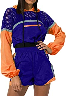 FSSE Womens Athletic Hoodie Casual Contrast Shorts Mesh 2 PCS Outfits Tracksuit Sets