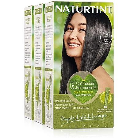 Naturtint Coloración Permanente Sin Amoniaco | 100% Cobertura de canas. Ingredientes Naturales. Color Natural y Duradero. 1N Negro Ébano. Pack de 3