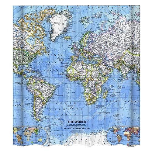 Cortina de ducha impermeable de 180 x 180 cm, diseño de mapa del mundo de tela de poliéster resistente al moho, antibacteriano, juego de cortinas de baño, mapa del mundo con impresión digital 3D
