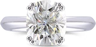 DovEggs10K White Gold 2CTW 7X8mm G-H-I Nearly Colorless 2.8mm Band Width Cushion Cut Moissanite Engagement Ring