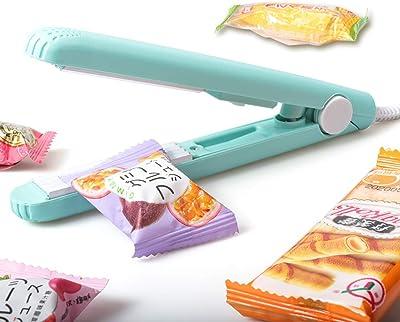 Mini sellado de alimentos portátil para la máquina de sellado, sellado de calor, cable de sellado de bolsas de plástico pequeñas (azul)