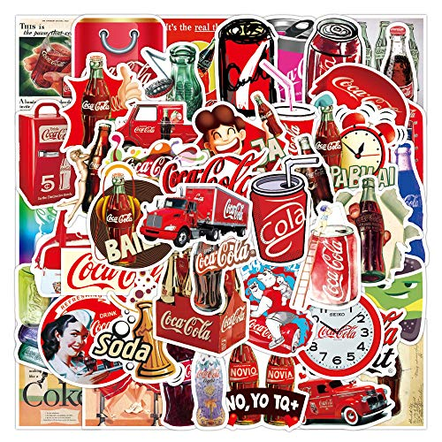 50pcs Cartoon Coke Vinyl Stickers car Sticker for Snowboard Motorcycle Bicycle Phone Computer DIY Keyboard Car Window Bumper Wall Luggage Decal Graffiti Patches