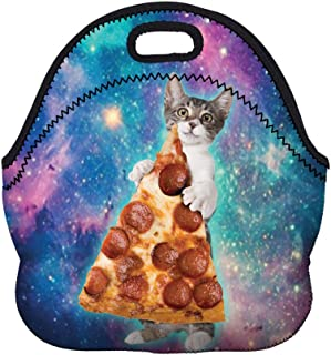 Boys Girls Kids Women Adults Insulated School Travel Outdoor Thermal Waterproof Carrying Lunch Tote Bag Cooler Box Neoprene Lunchbox Container Case For Outdoors,Work,Office,School (Cat and Pizza)