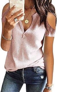 Womens V Neck Shirts Long Sleeve Waffle Knit Loose...