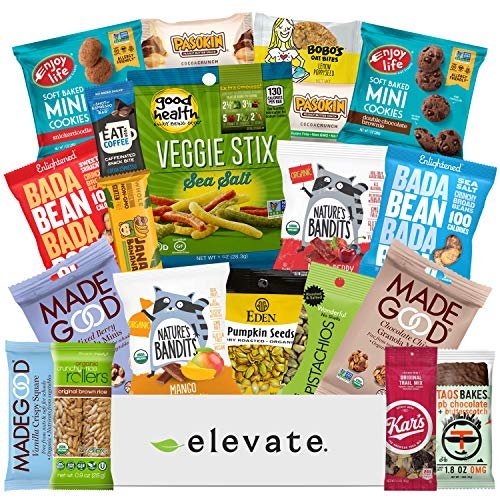 Healthy GLUTEN FREE and VEGAN Premium Snacks Gift Basket [20 Count] The Cleanest Ingredients Ever Found In A Snack Box, Plant Based Mix Of Sweet, Savory Treats, Care Package For Adults, Kids, Get Well