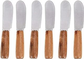 UPKOCH Esparcidor de mantequilla 6 piezas mango de madera cuchillo para servir mantequilla cocina de acero inoxidable para chef cocina hogar restaurante