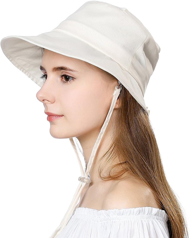 Summer Sun Hat for Women Bucket Travel Fishing Safari Beach Hat Foldable Cotton SPF Beige Siggi