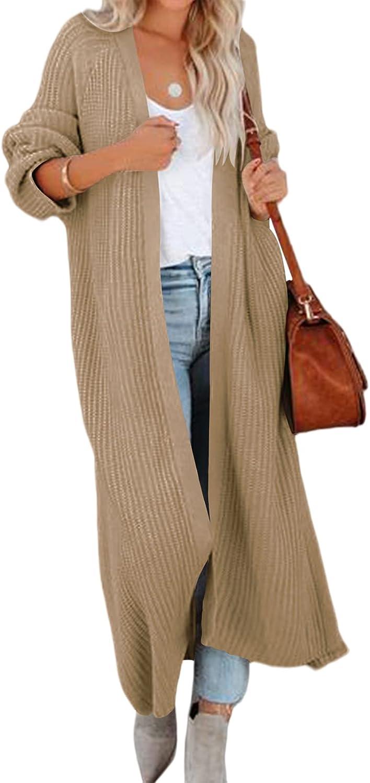 Women's Long Cardigan Sweaters Open Front Long Sleeve Side Slit Drape Loose Chunky Knit Duster Cardigans