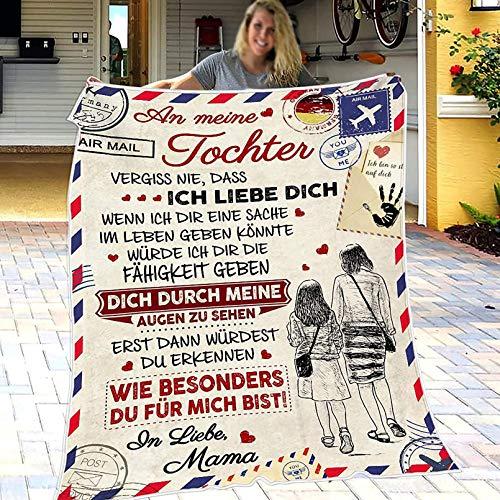 XXXZZL Personalisierte Flanell Kuscheldecken Briefdecke An Meine Tochter, Mutter für Töchter Luftpost Positiv Ermutigen Decke Decke Quiltdecke Werfen,01,150 * 200cm