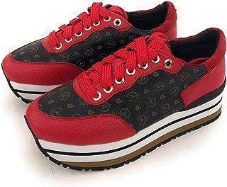 Pollini Sneaker in Stampa Heritage (Colori: Nero-Nero,Nero-Rosso,Nero-Bronzo) .Chiusura Sneaker con Lacci Linguetta con Logo