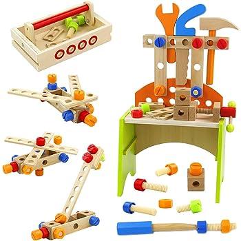 Werkbank Kinder Holz Spielzeug Ab 3 4 5 6 Jahre Jungen Madchen 40 Stuck Kinderwerkbank Mit Zubehor Multifunktionale Rollenspiele Konstruktionsspielzeug Kinderspielzeug Amazon De Spielzeug