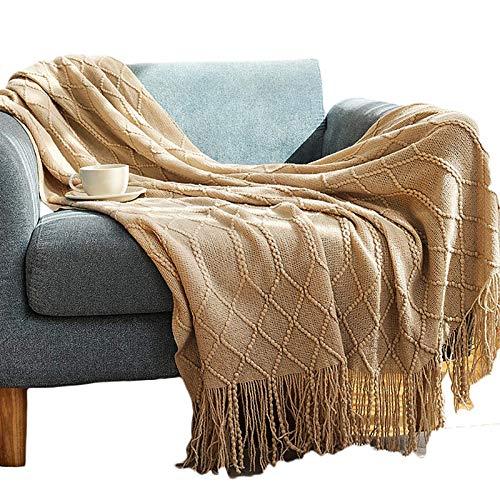 Couverture de climatisation d'été, couverture tricotée de canapé doux Couverture de jet double face Couverture de camping de voyage Couverture mince de lit Couverture de laine nordique127 * 152CM