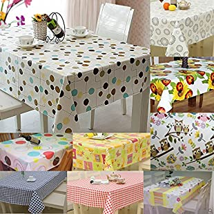 Jazooli Large Wipe Clean PVC Vinyl Tablecloth Dining Kitchen Table Cover Protector Sheet - Circles & Lines