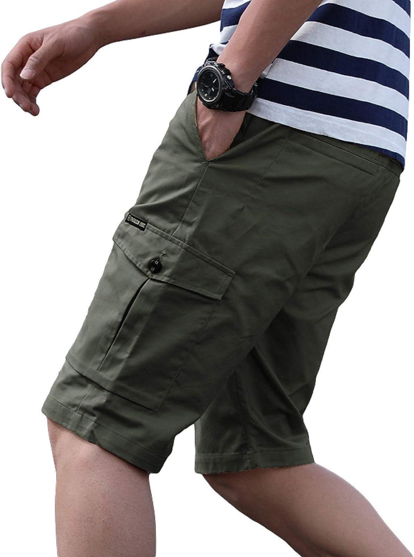 Segindy Men's Cargo Shorts Fashion Stitching Pockets Loose Comfo