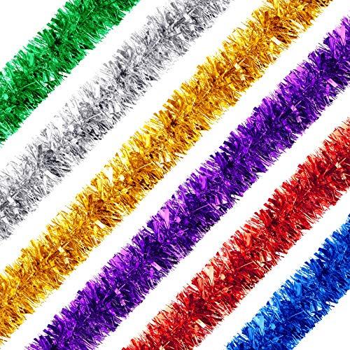WILLBOND 6 Rollen Lametta Girlande Weihnachtsbaum Dekorationen Mischfarbe Hängende Girlande Metallic Glitter Streamer, 12 Meter Insgesamt (Rot, Grün, Gold, Silber, Blau, Lila)