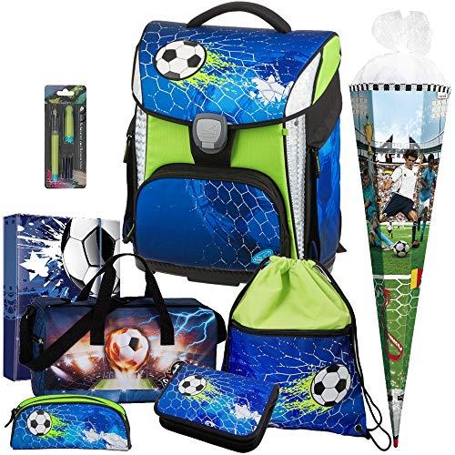 Soccer Champ - Fußball - Schneiders LED-TOOLBAG Plus 78324-074 mit LED-LEUCHTSYSTEM Schulranzen-Set 8tlg mit Sporttasche und Schultüte - Füller GRATIS