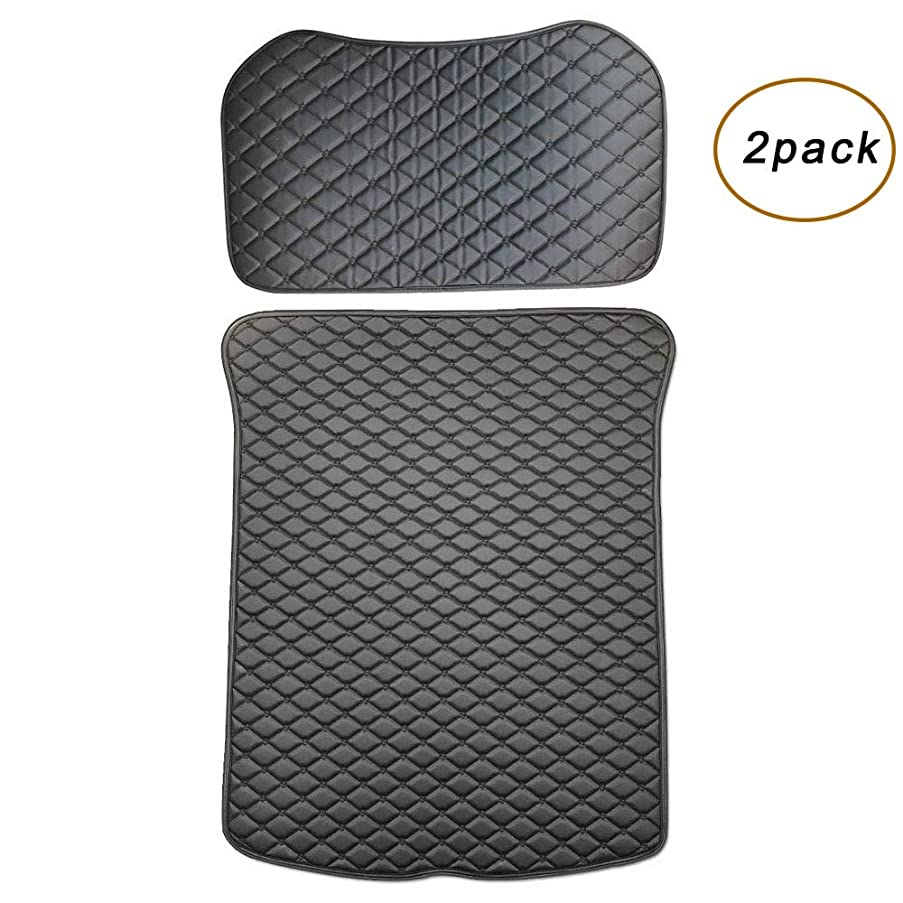 EVFIT Tesla Trunk Mats Set-All Weather Floor Mat Front and Rear Trunk Heavy Duty Leather Mat Liner Waterproof Protector Compatible Tesla Model 3 (2pcs Black)
