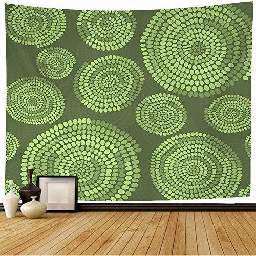 Tapiz para colgar en la pared, cuentas rústicas africanas tradicionales con adornos, remolinos, texturas de arco abstracto, azulejo, tapiz de tornillo verde, decoración, sala de estar, dormitorio para
